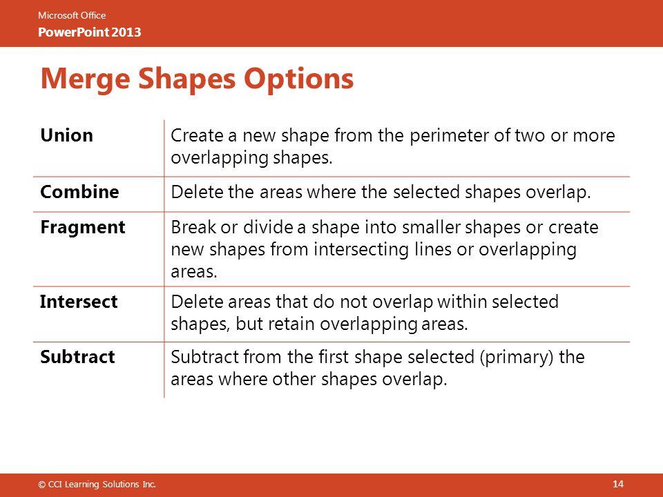 Merge Shapes Options Union