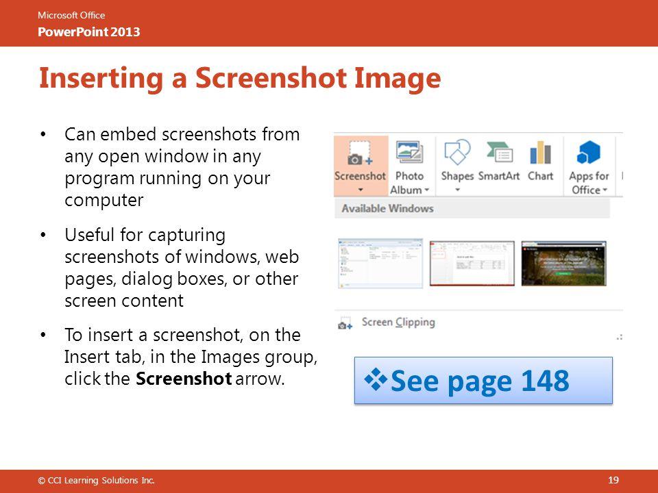 Inserting a Screenshot Image