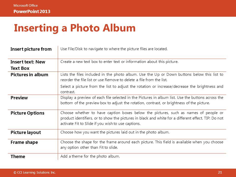 Inserting a Photo Album
