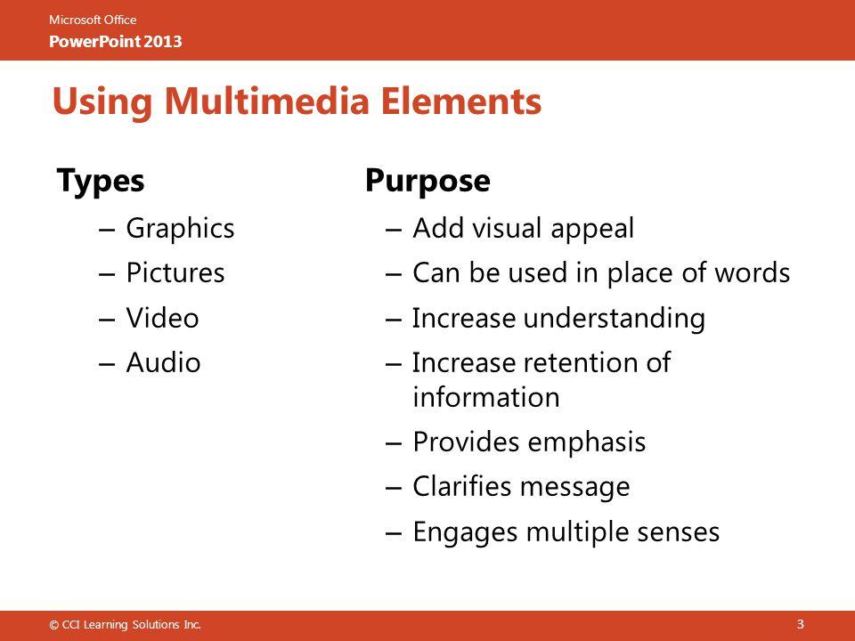Using Multimedia Elements