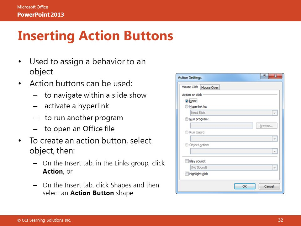 Inserting Action Buttons