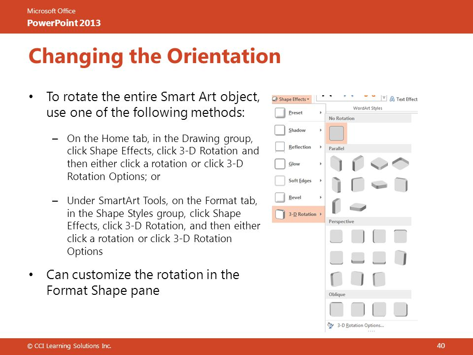 Changing the Orientation