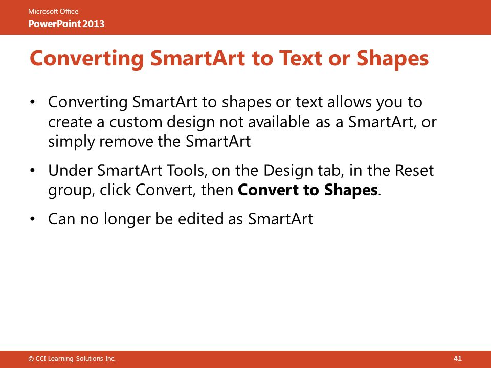 Converting SmartArt to Text or Shapes