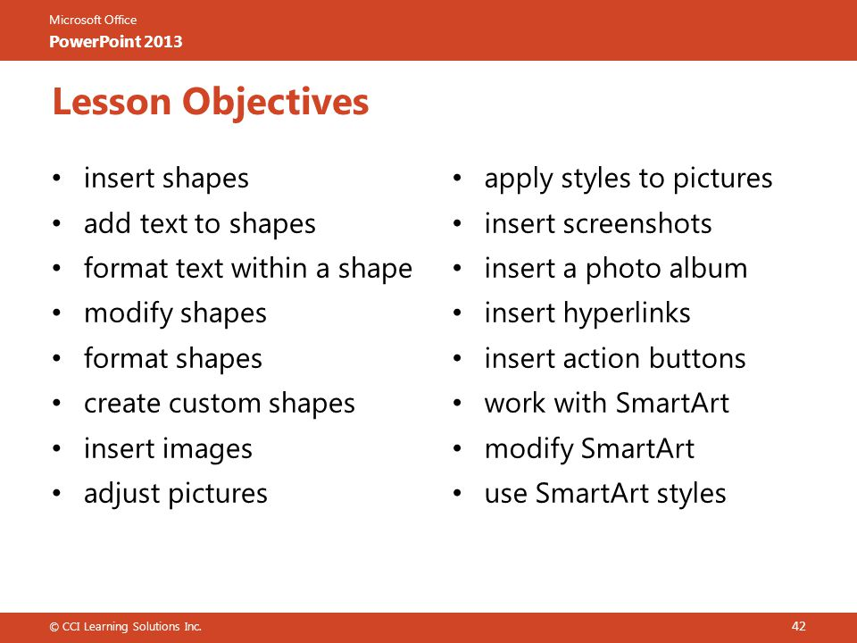 Lesson Objectives insert shapes add text to shapes
