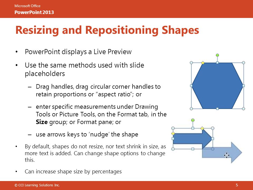 Resizing and Repositioning Shapes