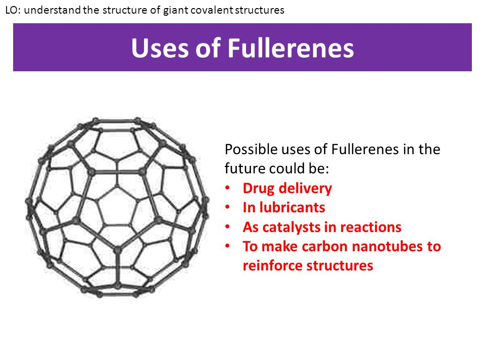 Uses of Fullerenes Possible uses of Fullerenes in the future could be: