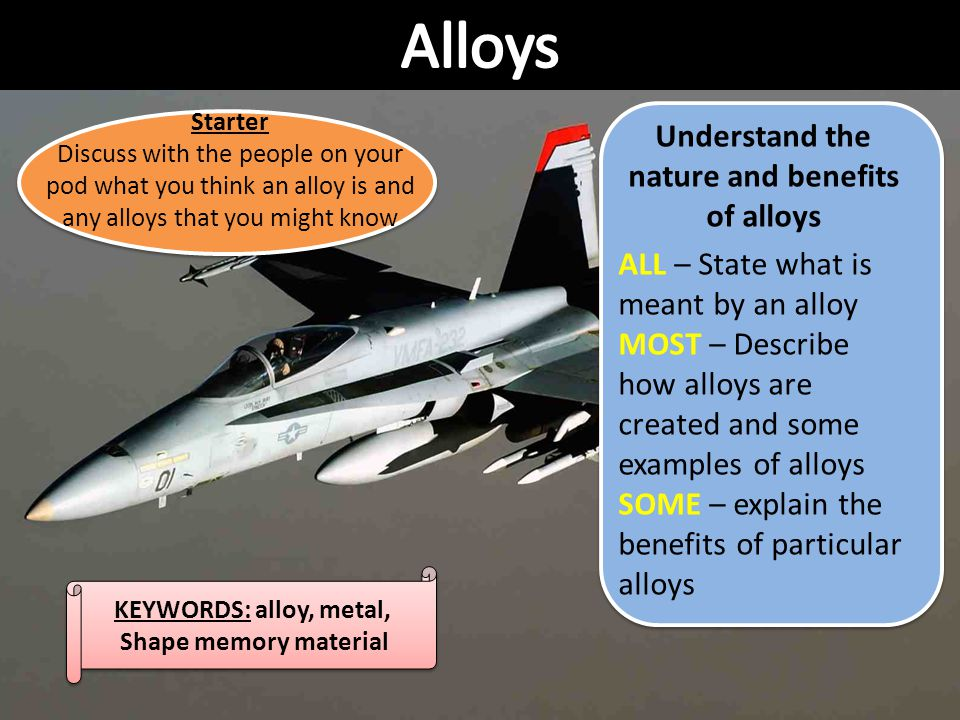 Understand the nature and benefits of alloys