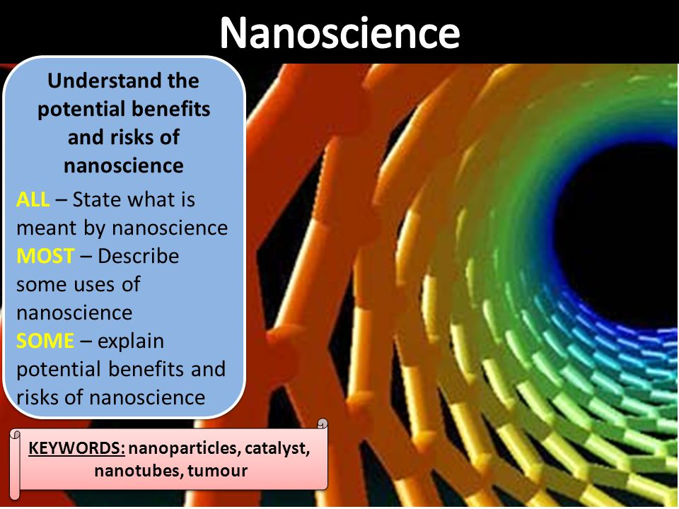 Nanoscience Understand the potential benefits and risks of nanoscience