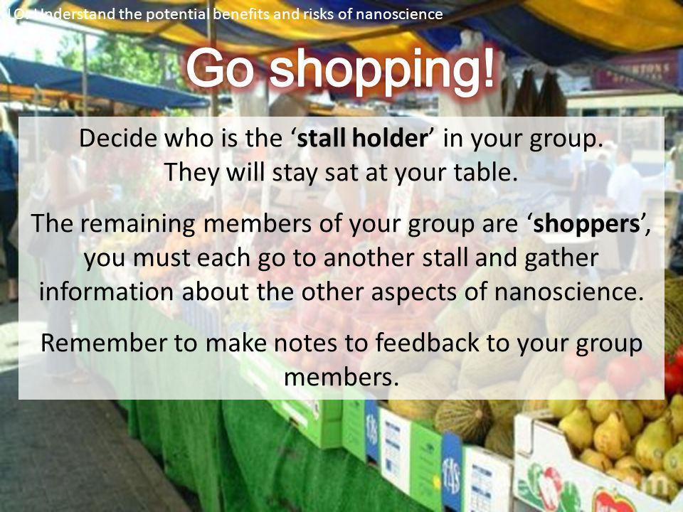 Go shopping! Decide who is the 'stall holder' in your group.