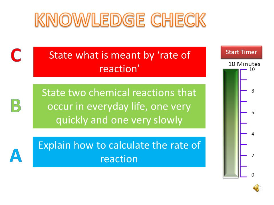 KNOWLEDGE CHECK C B A State what is meant by 'rate of reaction'