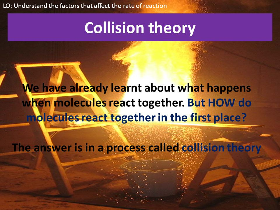 The answer is in a process called collision theory