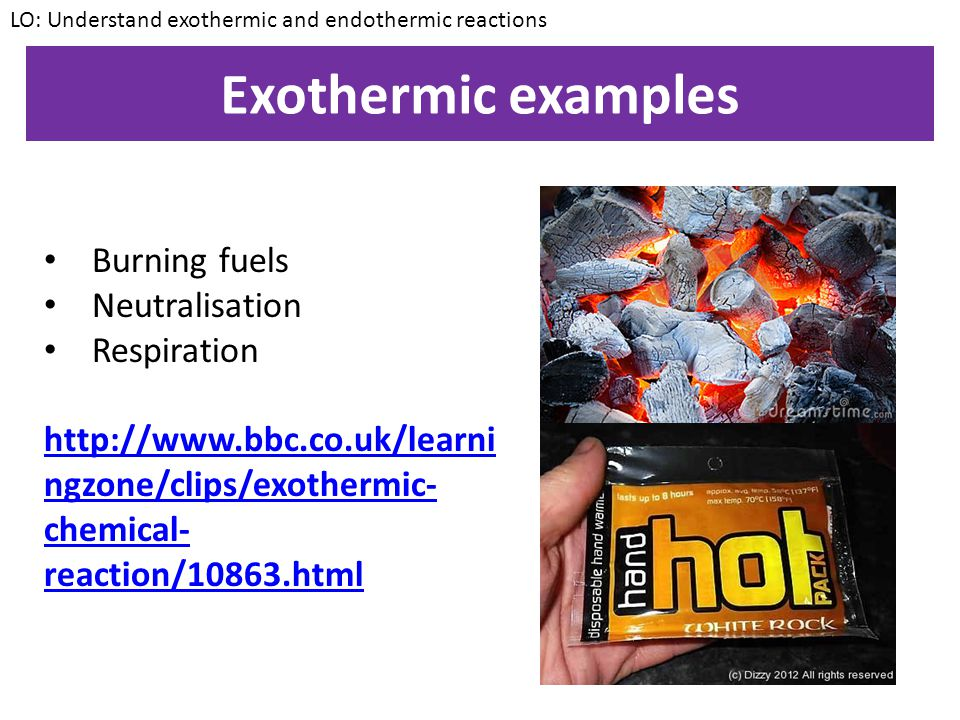 Exothermic examples Burning fuels Neutralisation Respiration