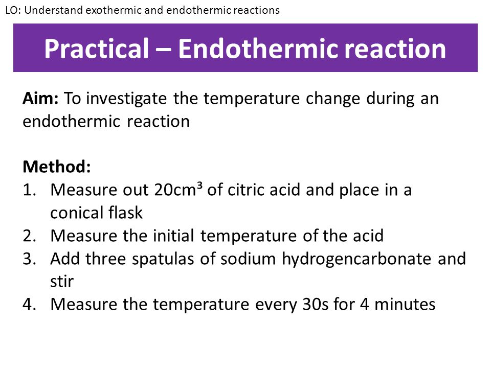 Practical – Endothermic reaction