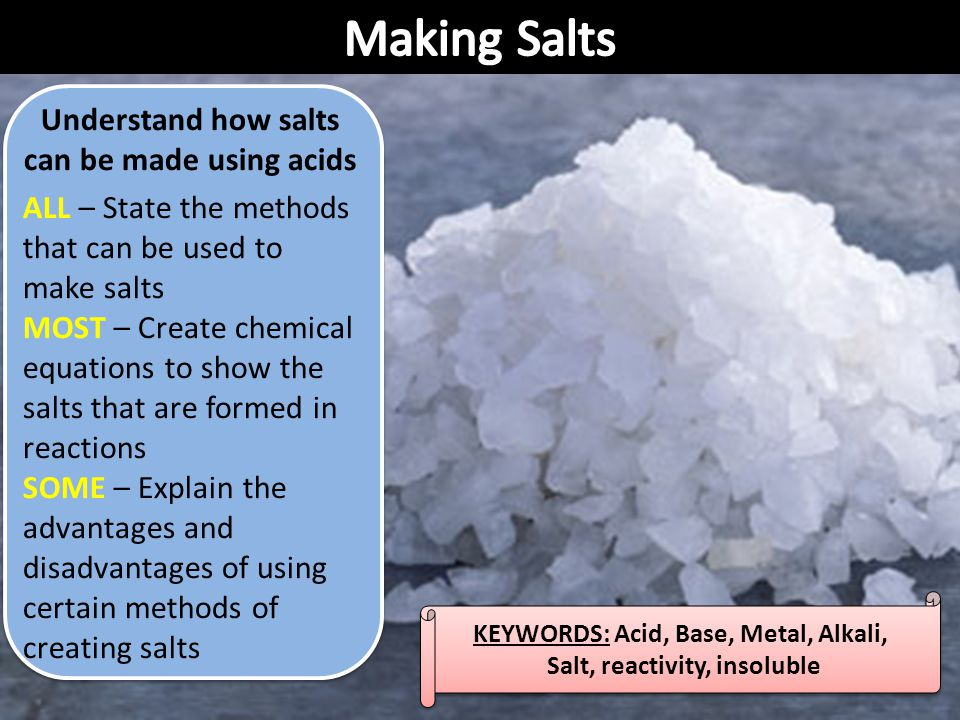 Making Salts Understand how salts can be made using acids