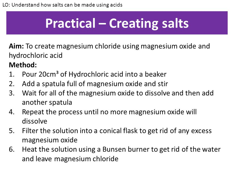 Practical – Creating salts