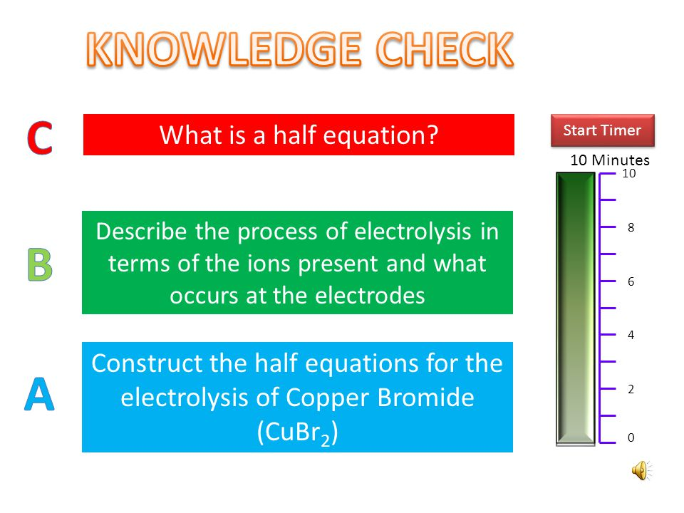 KNOWLEDGE CHECK C B A What is a half equation