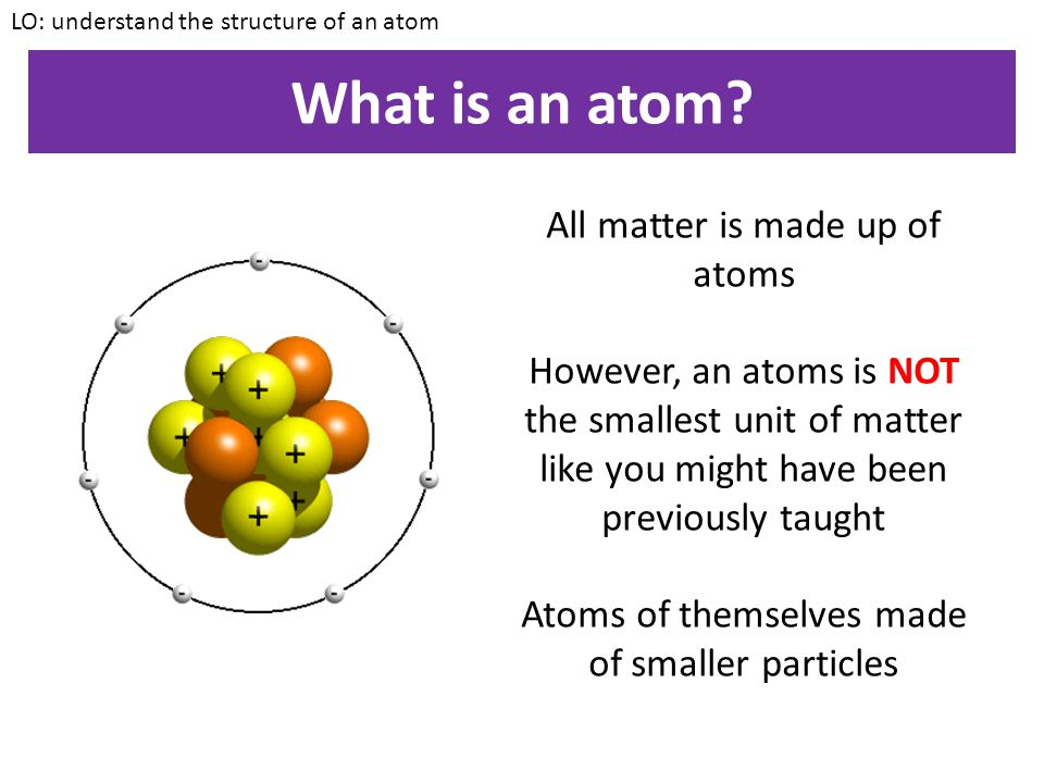 What is an atom All matter is made up of atoms