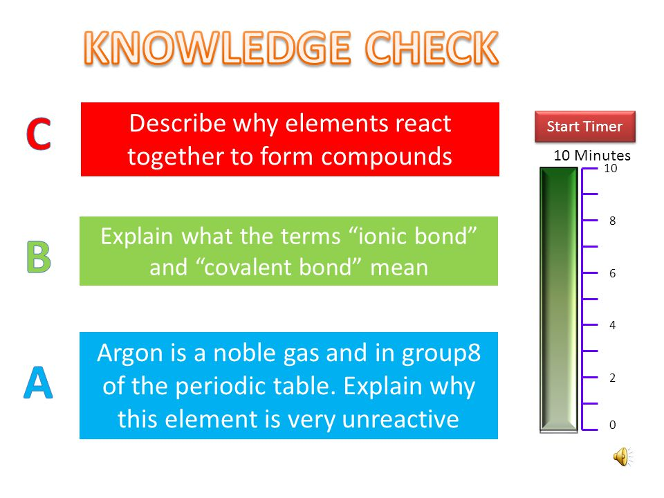 KNOWLEDGE CHECK C. Describe why elements react together to form compounds. Start Timer. 10 Minutes.