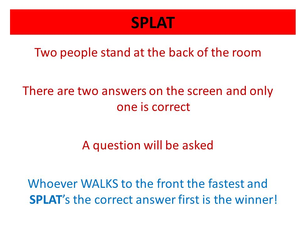 SPLAT Two people stand at the back of the room