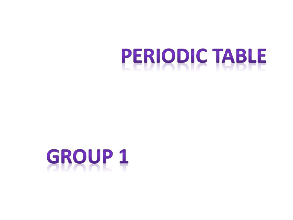 Periodic table Group 1