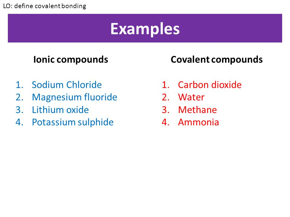 Examples Ionic compounds Sodium Chloride Magnesium fluoride