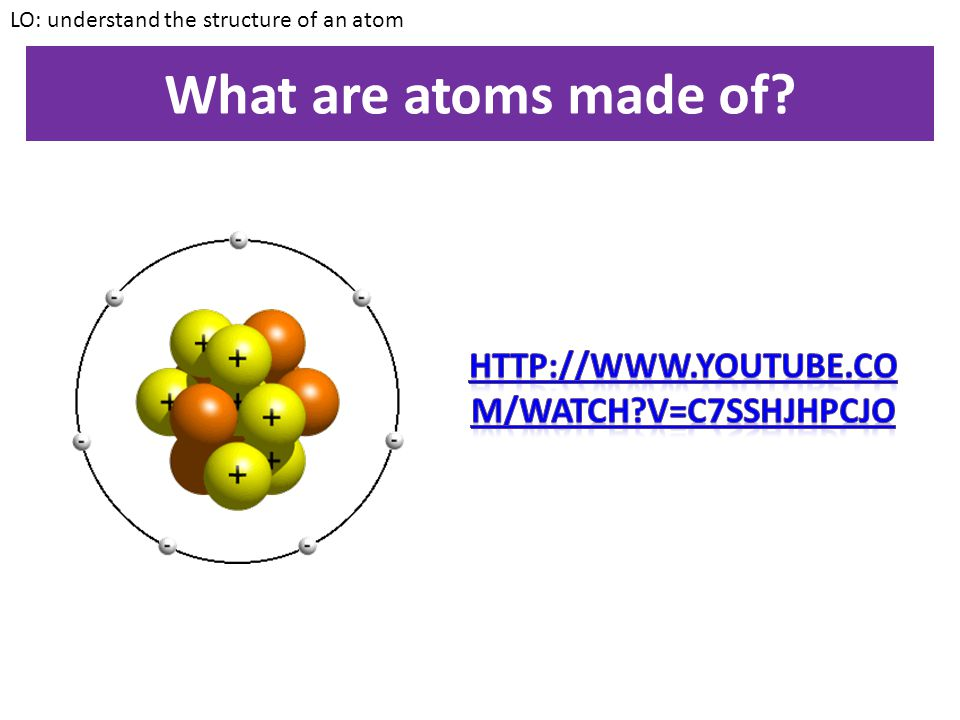 What are atoms made of http://www.youtube.com/watch v=C7sshJHpCJo