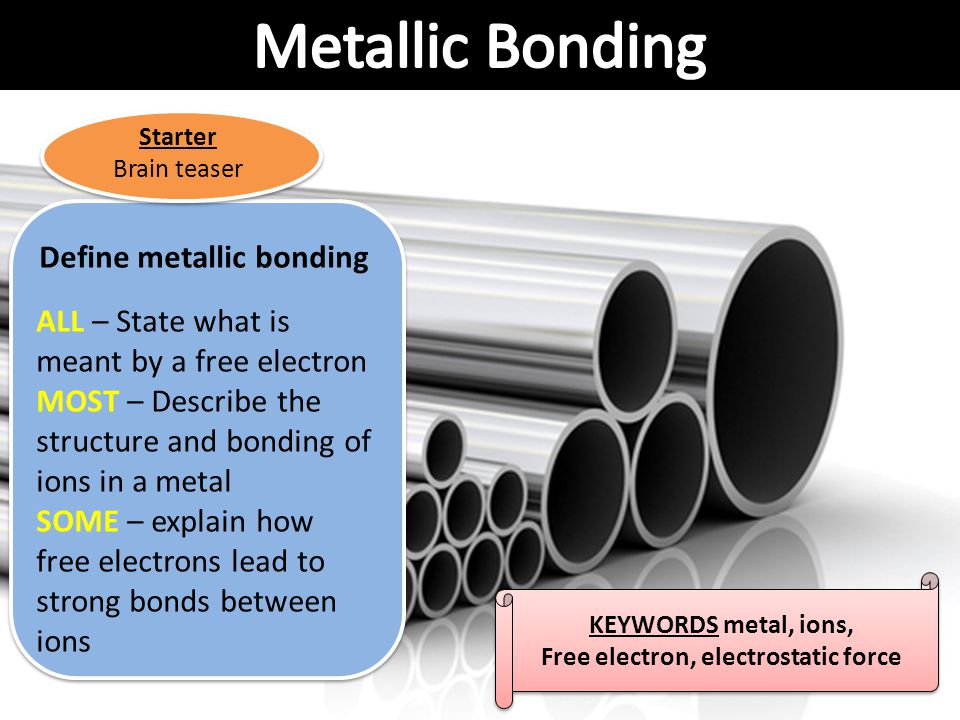 Define metallic bonding Free electron, electrostatic force