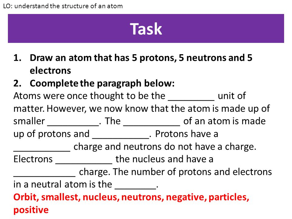 Task Draw an atom that has 5 protons, 5 neutrons and 5 electrons