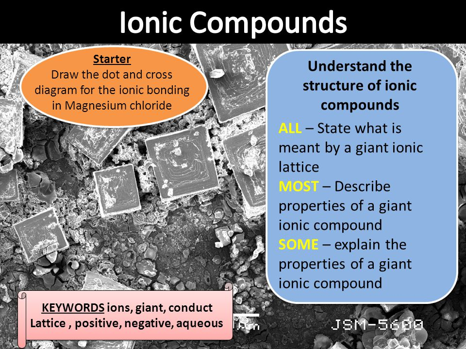 Ionic Compounds Understand the structure of ionic compounds