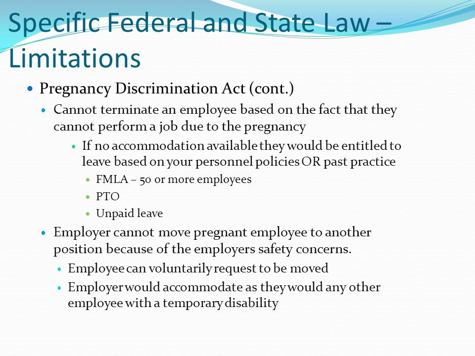 Specific Federal and State Law – Limitations