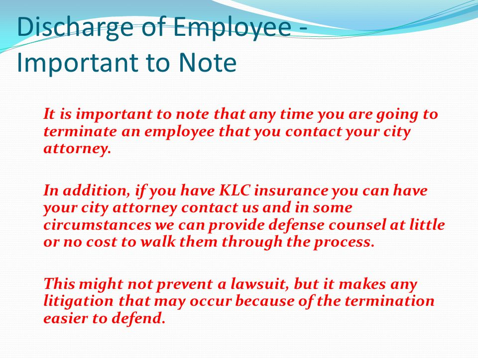 Discharge of Employee - Important to Note
