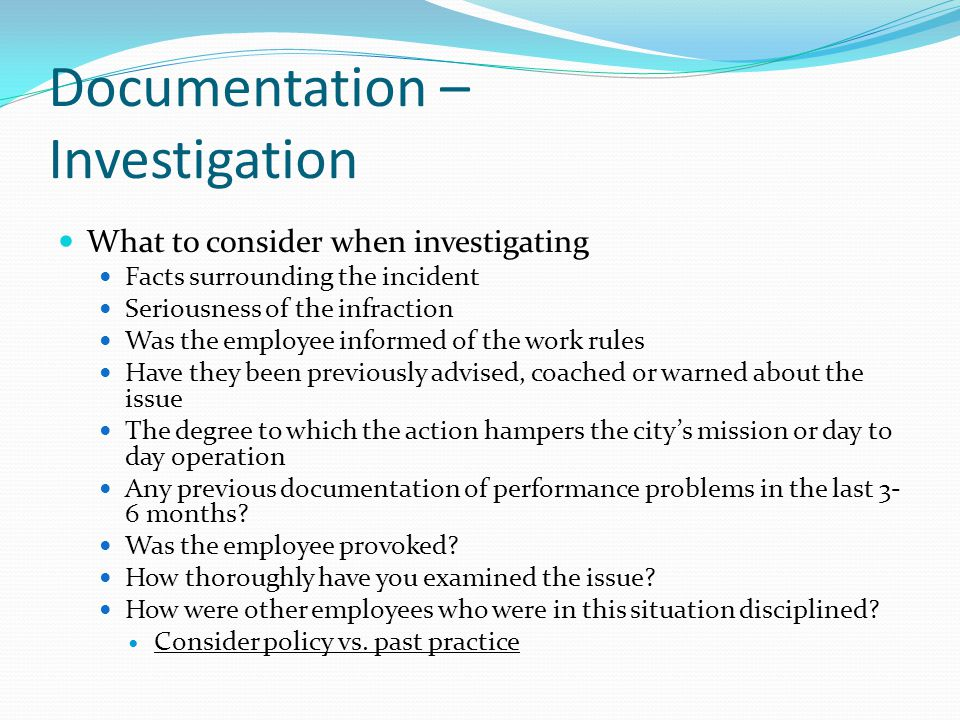 Documentation – Investigation