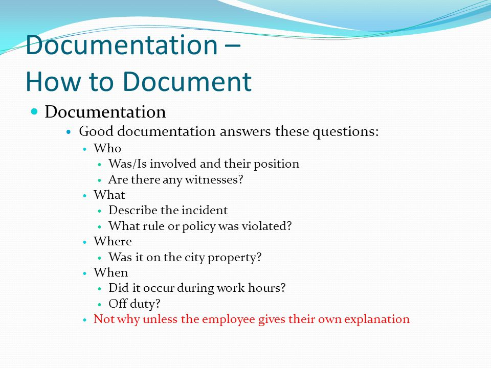 Documentation – How to Document