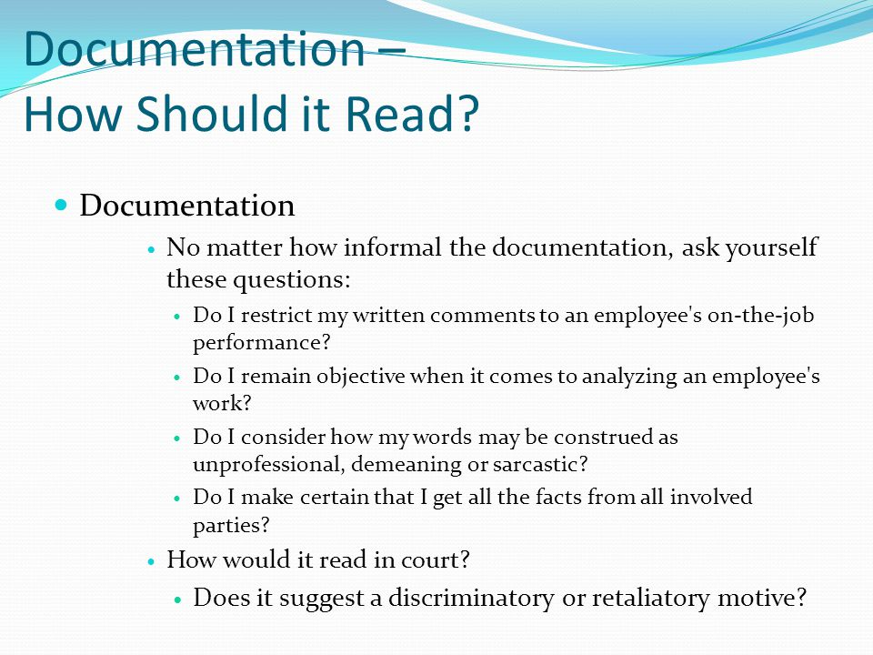 Documentation – How Should it Read