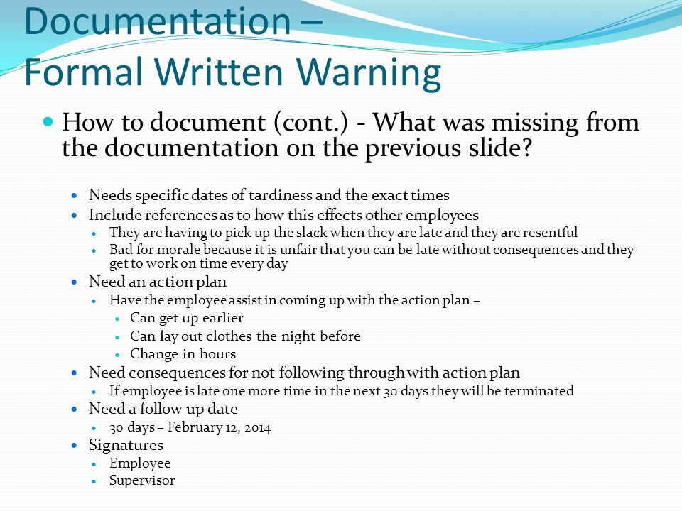Documentation – Formal Written Warning