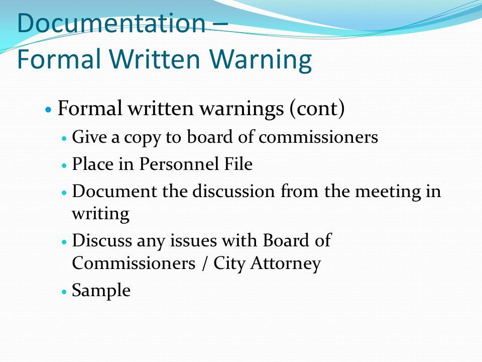 Documentation – Formal Written Warning