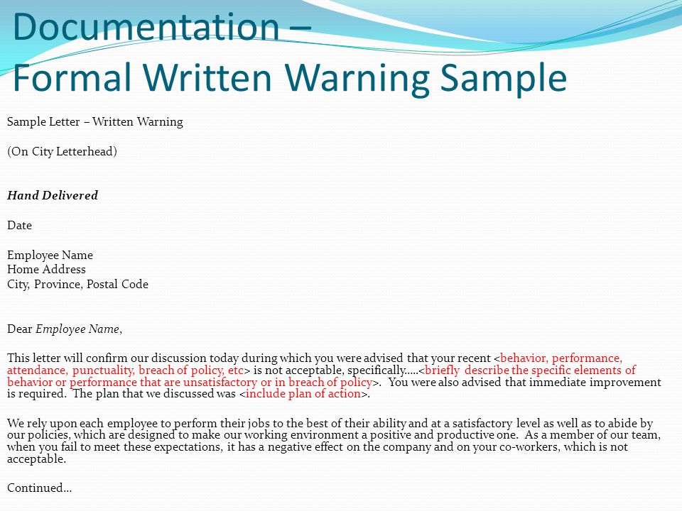 Documentation – Formal Written Warning Sample
