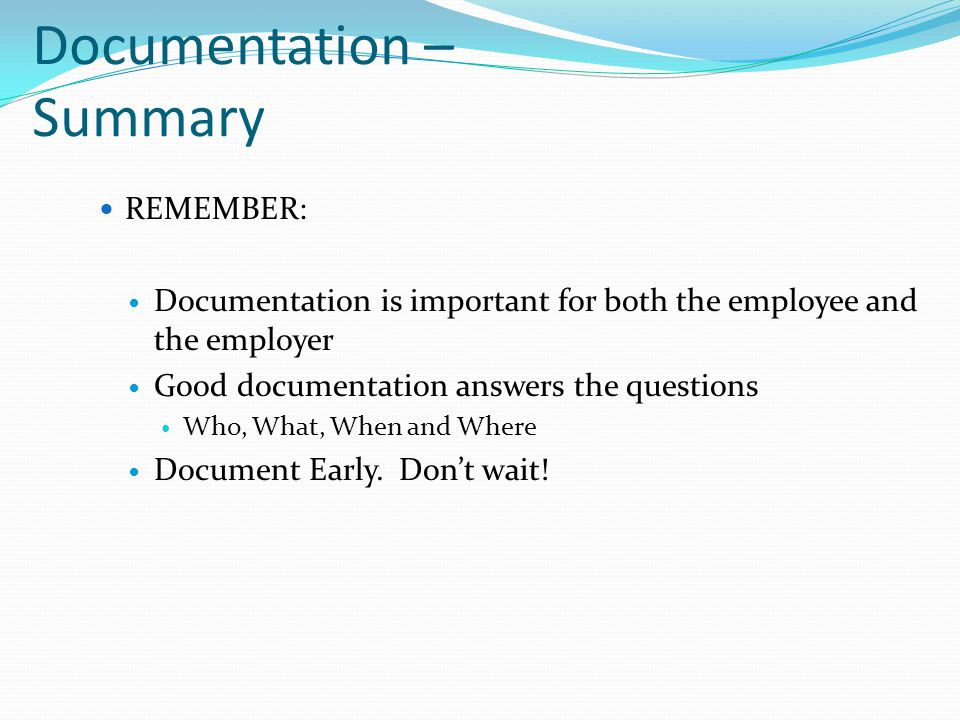 Documentation – Summary