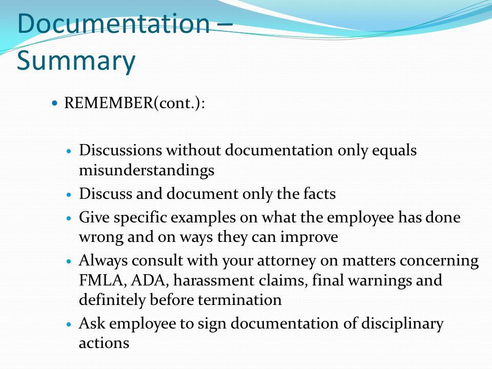 Documentation – Summary