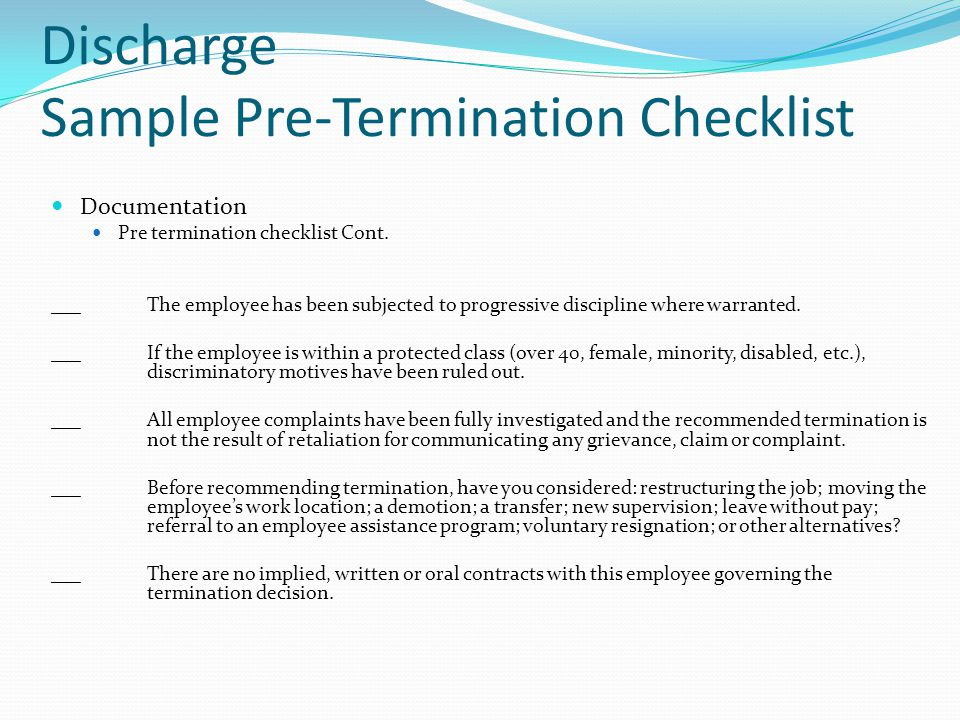 Discharge Sample Pre-Termination Checklist