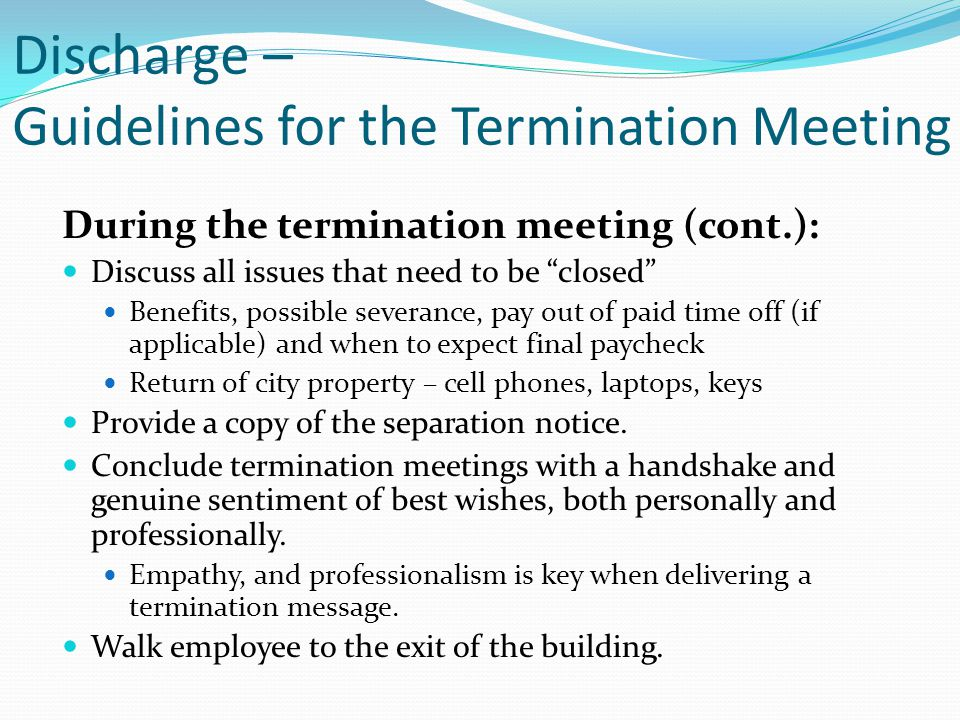 Discharge – Guidelines for the Termination Meeting