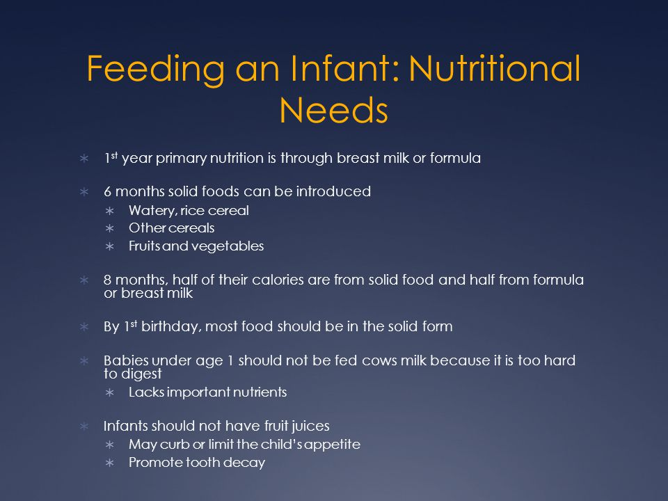 Feeding an Infant: Nutritional Needs