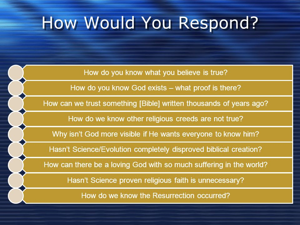 How Would You Respond How do you know what you believe is true