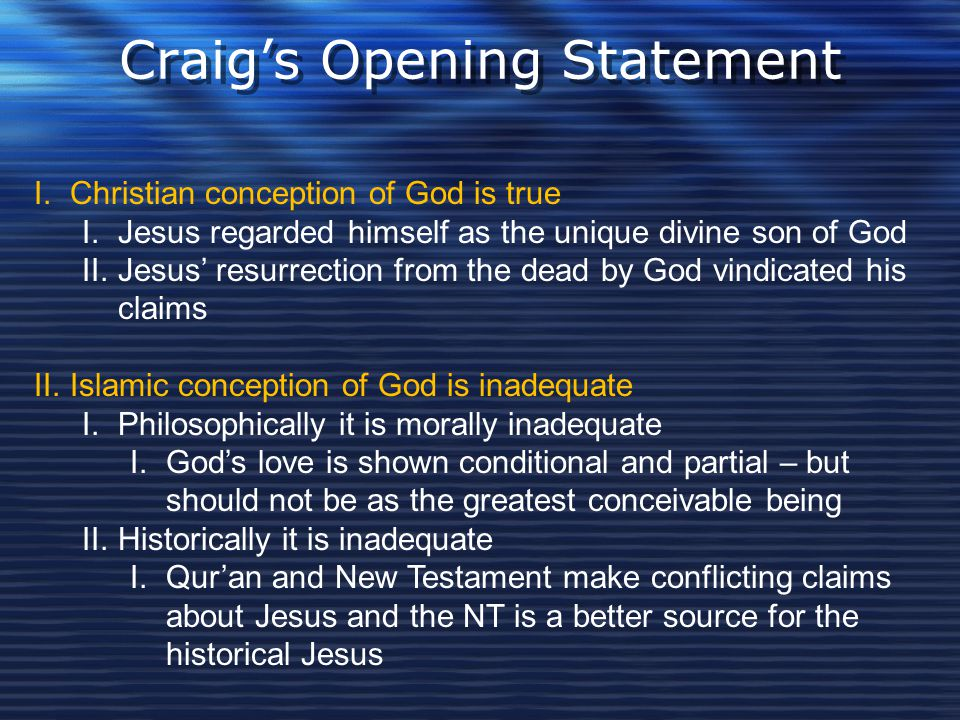 Craig's Opening Statement