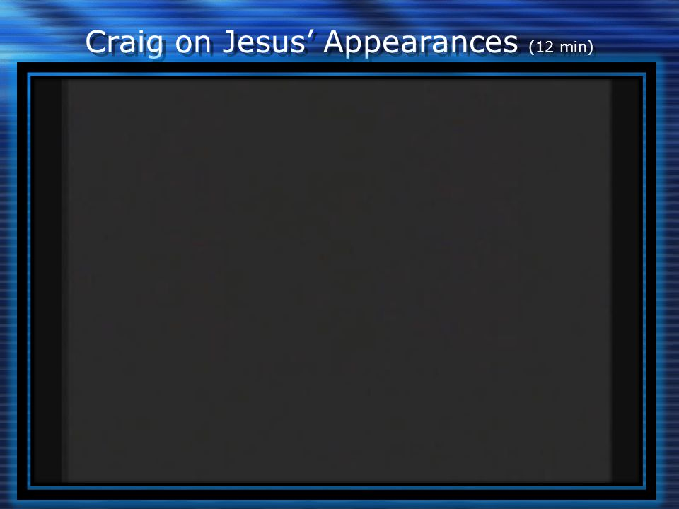Craig on Jesus' Appearances (12 min)