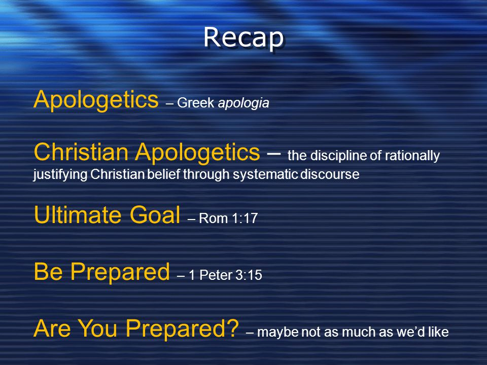 Recap Apologetics – Greek apologia