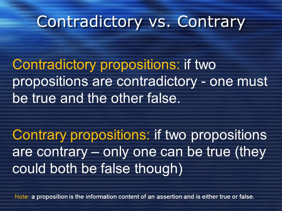Contradictory vs. Contrary
