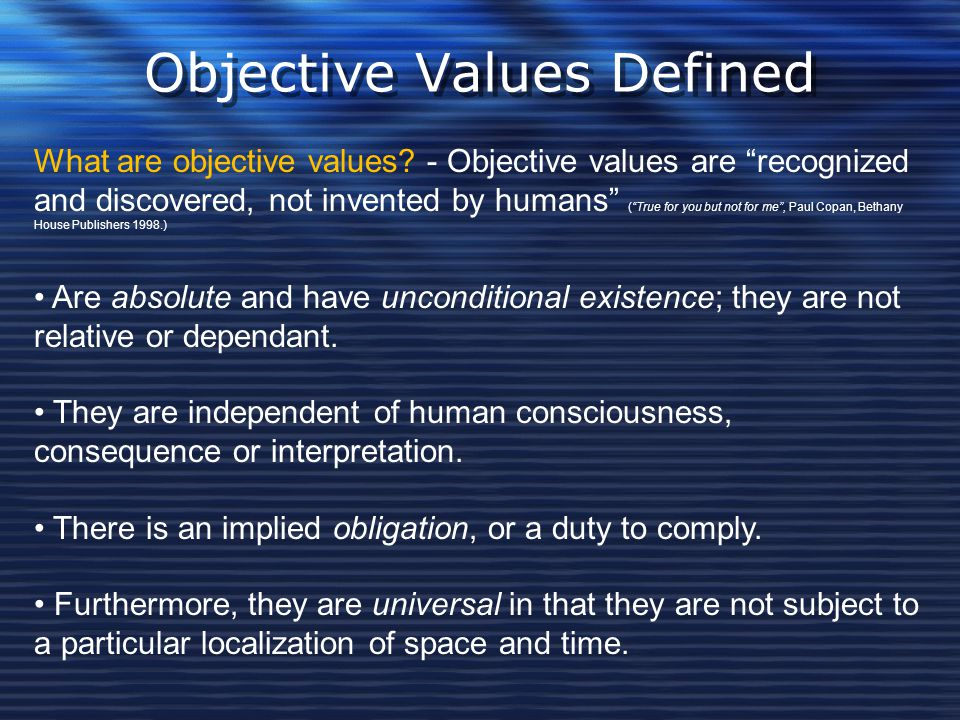Objective Values Defined