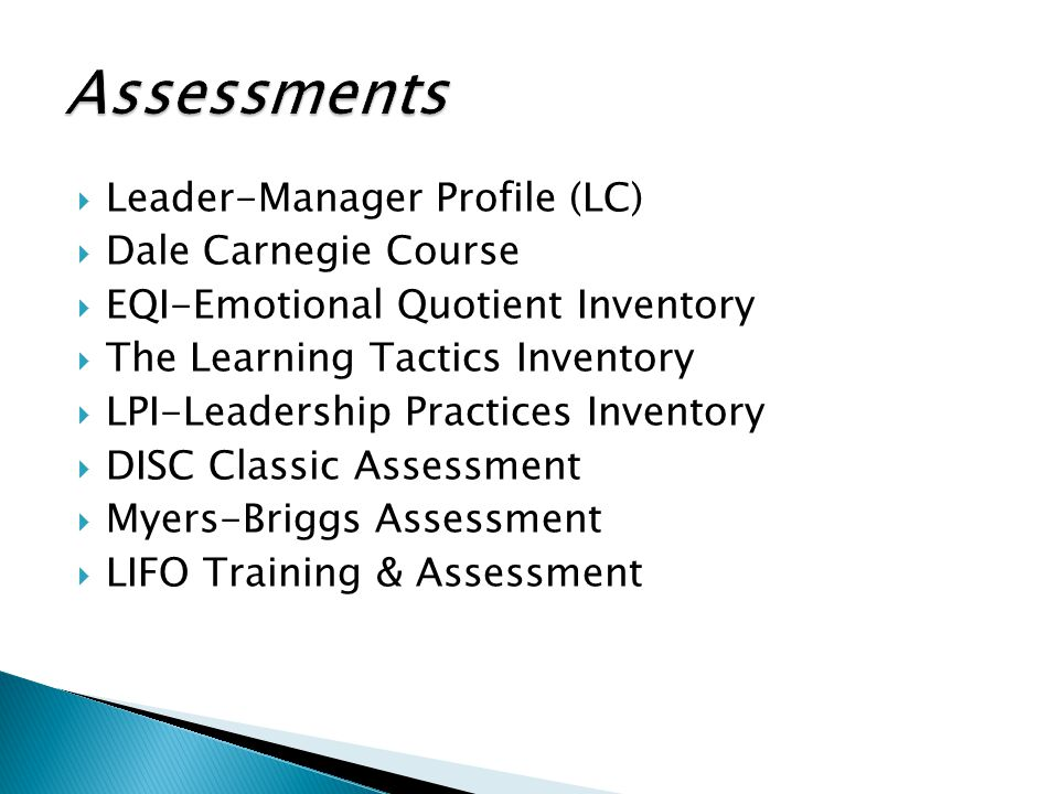 Assessments Leader-Manager Profile (LC) Dale Carnegie Course