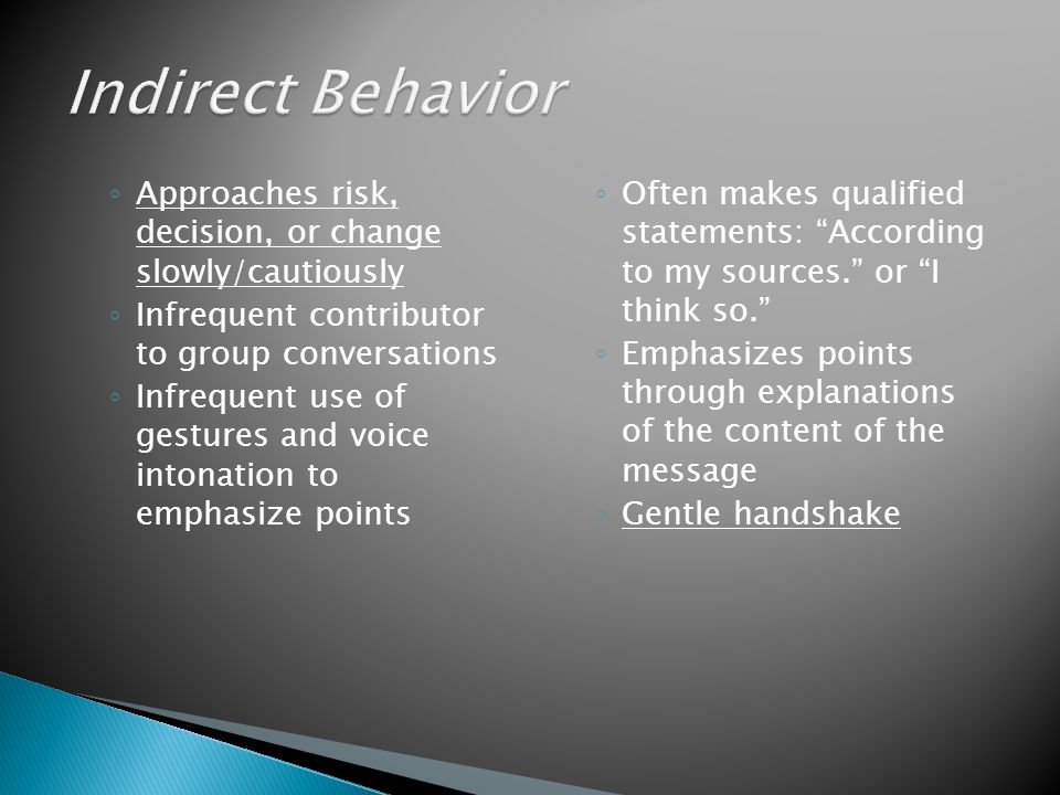 Indirect Behavior Approaches risk, decision, or change slowly/cautiously. Infrequent contributor to group conversations.